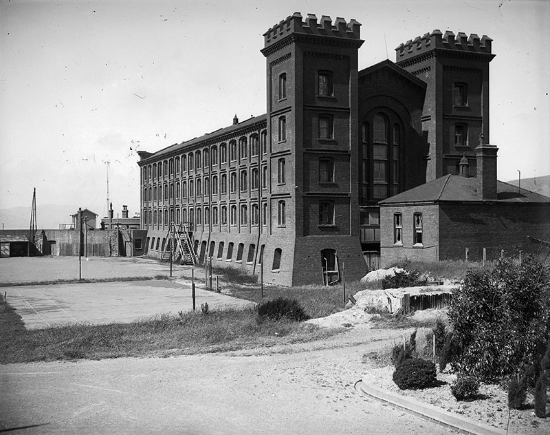 View of the Alexandra Barracks, Mount Cook, Wellington shortly before it was demolished in 1929.
