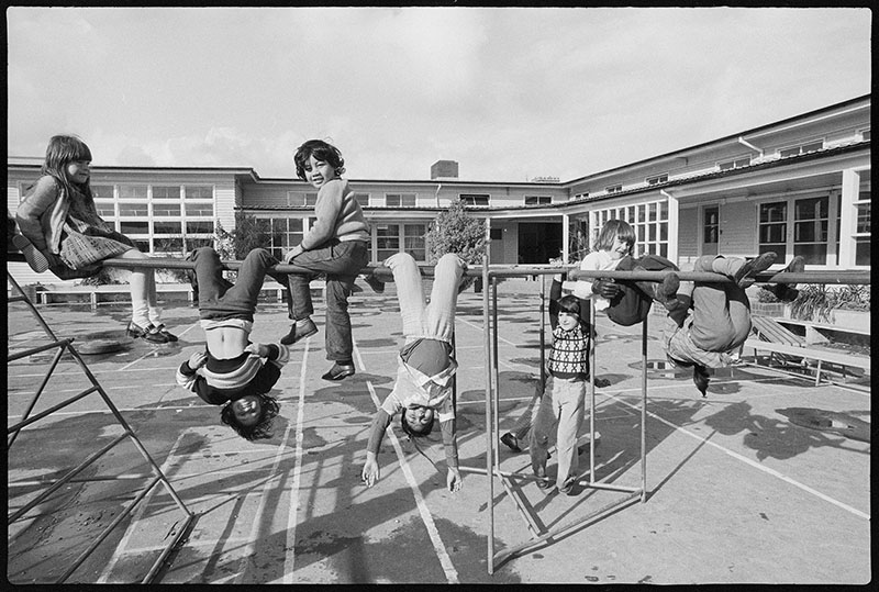 Children in the playground of Mount Cook School, Te Aro, Wellington, 1975.