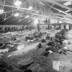 Sleeping quarters for Special Mounted Police, at Alexandra Barracks, Mount Cook, Wellington, during the 1913 waterfront strike.