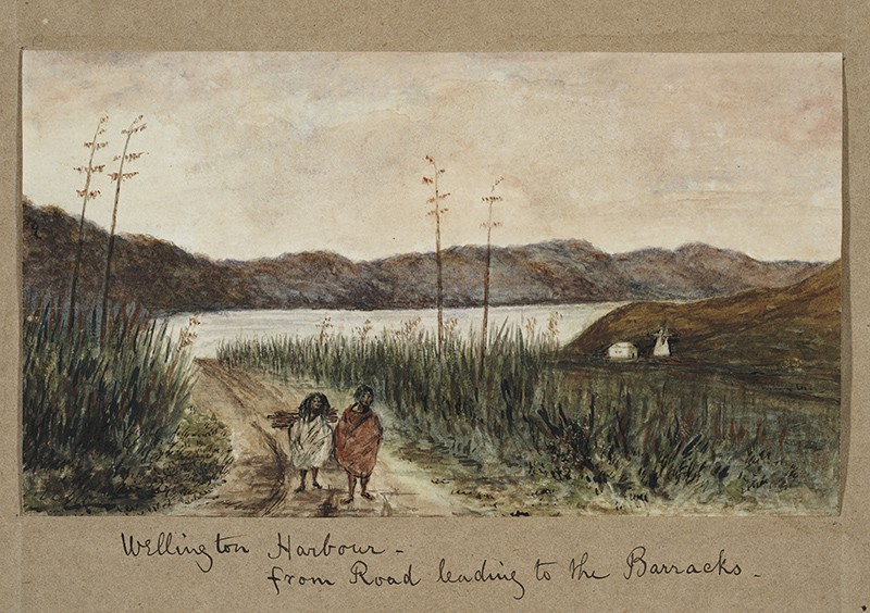 Wellington Harbour — from road leading to the Barracks, 1852.